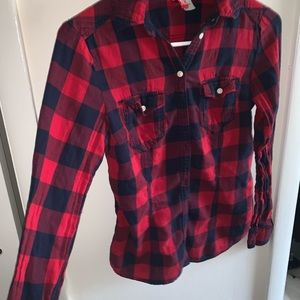 Red + navy striped flannel